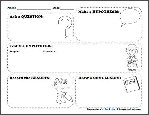 Free Scientific Method Printable Worksheet for Kids – Writing a Hypothesis Worksheet