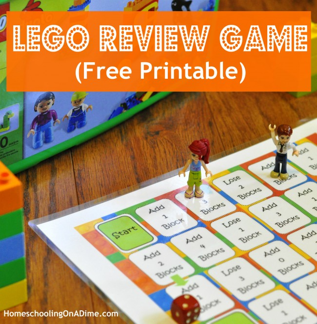 LEGO Game Board Printable for Memory Review Work