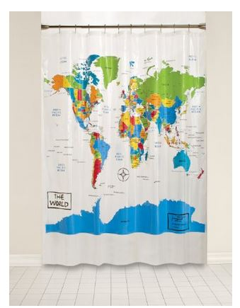 map world shower curtain